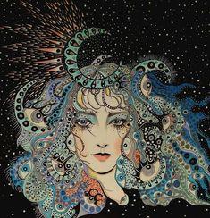 A stunning celestial work in progress by Illustrations, Illustration Art, Arte Popular, Moon Art, Psychedelic Art, Portrait Art, New Art, Art Inspo, Painting & Drawing