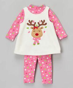 Look at this #zulilyfind! Ivory & Pink Reindeer Fleece Jumper Set - Infant, Toddler & Girls #zulilyfinds