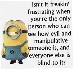 isn't it freakin frustrating when you're the only person who can see how evil and manipulative someone is, and everyone else is blind to it?
