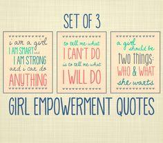 Girl Empowerment Quote Art, Set of 3- Kids Wall Art, Nursery Art, Playroom Art. $35.00, via Etsy.