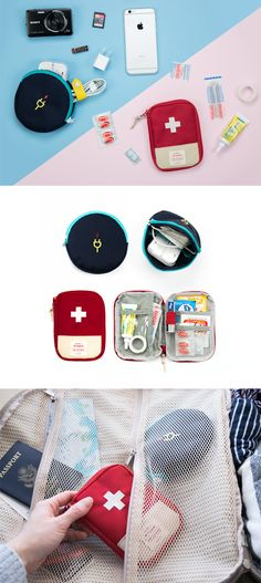 This collection helps you to be prepared for emergencies by providing you 2 essential pouches! The Charger Pouch is for carrying electronic chargers to avoid out-of-power emergency and the First Aid Pouch is great to store small first aid supplies for ouch-moment!