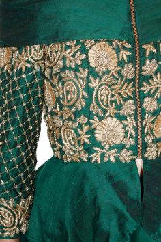 Green threadwork embroidered peplum jacket lehenga set available only at Pernia's Pop-Up Shop.