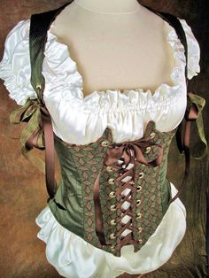 Really cute green corset with extra bust line detail