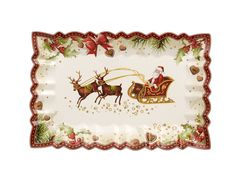 Villeroy & Boch presents the Toy's Fantasy Santa's Sleigh Rectangular Cake plate. Delight your guests with this whimsical piece of serveware that features unique fluted edges, scalloped borders and fe Christmas China, Christmas Dishes, Christmas Tablescapes, All Things Christmas, Christmas Decorations, Rectangle Cake, Quilted Christmas Ornaments, Fantasy Cake, Christmas Dinnerware