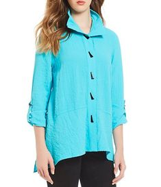 953f6ec8f9fe85 Ali Miles Crinkle Wire Collar Roll-Tab Sleeve Button Front Top Collar Top,  Petite