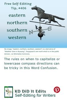 A Word Confusion post for the self-editing writer on when to capitalize and when to use lowercase when referring to compass directions.