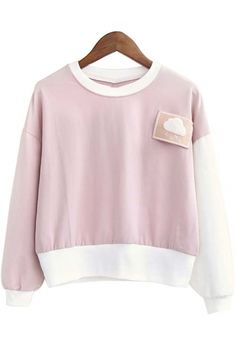 Cute Sweatshirts, Cute Sweaters, Simple Outfits, Girl Outfits, Cloud, Long Sleeve, Sleeves, Pink, Clothes