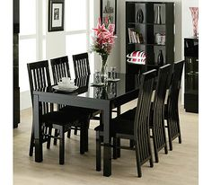 Dazzle High Gloss Black Rectangular 4 Seater Dining Set With Slat Back Chairs