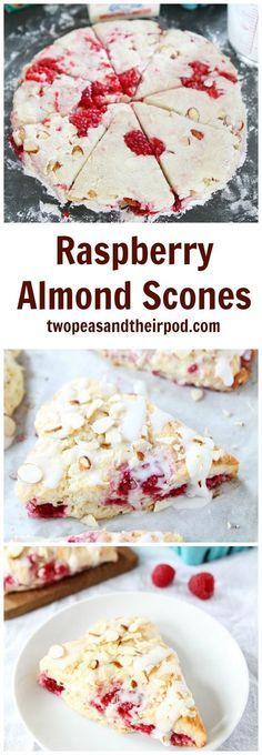 Raspberry Almond Scones with a sweet almond glaze! This is the BEST scone recipe! The scones are great for breakfast, brunch, or anytime! The raspberry almond combo is divine!
