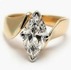 Beautiful marquise Diamond engagement ring. Yellow gold 14k Nice design SLVH ❤❤