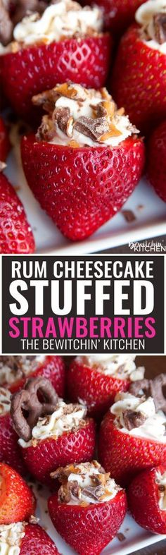 Rum Cheesecake Stuffed Strawberries. This easy, no bake dessert recipe is a party favorite. Cream cheese, sugar and rum extract, topped with crunchy milk chocolate covered pretzels makes this bite siz