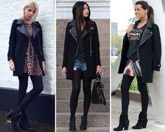 ZARA is the new black: El abrigo biker con solapas de cuero de Zara