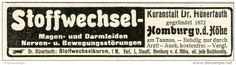 Original-Werbung/ Anzeige 1905 - KURANSTALT DR. HÜHNERFAUTH / HOMBURG v.d. HÖHE / TAUNUS - ca. 90 x 20 mm