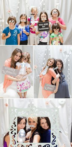 Photo booths cute idea especially if have a theme and can do chalk board frames, which can be kept for when documenting baby's milestones with pictures...may be pricey