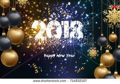 Happy new year 2018 background with christmas confetti gold and firework 2018