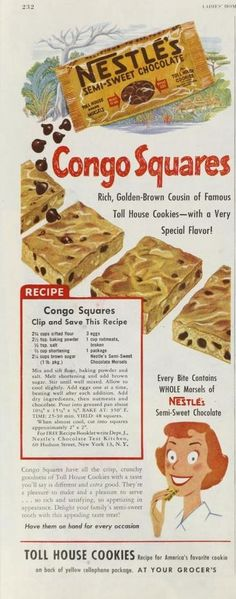 Today is National Blonde Brownies Day . Blond Brownies is a misnomer. Blondies are not Brownies ! They get their flavor from brown sugar a. Retro Recipes, Old Recipes, Vintage Recipes, Cookie Recipes, Dessert Recipes, 1950s Recipes, Bakery Recipes, Family Recipes, Congo Bars