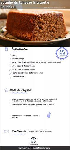 Receita de Bolo de Cenoura Integral → http://www.segredodefinicaomuscular.com/bolo-de-cenoura-integral-e-saudavel/ #Dieta