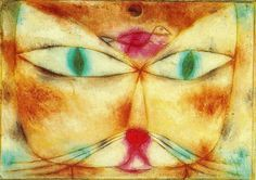 """Ones of Paul Klee's most famous paintings is the """"Cat and Bird"""" painting seen below. Description from artwithwine.blogspot.com. I searched for this on bing.com/images"""