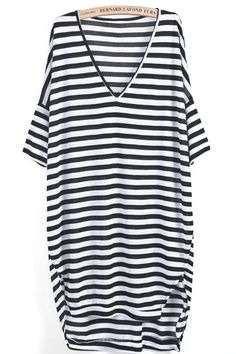Black White Striped V Neck Loose Dress pictures