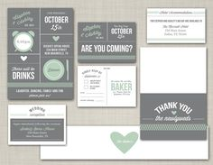 Mint + Gray Modern Wedding Invitation Suite!