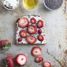 strawberries, ricotta, chia seeds, & honey