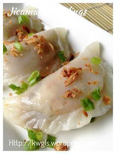 Chinese Steamed Bamboo Shoot dumplings with Jicama fillings