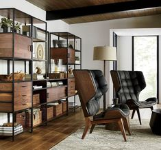 For the best in contemporary home decor, examine these concepts. There are a number of wrong ideas, specifically over its perceived minimalism. Whilst the focal point is obviously on creating clean living environments, comfort won't be forfeited at all. Industrial Office Design, Industrial Design Furniture, Office Furniture Design, Home Office Design, Industrial Living, Modern House Plans, Modern House Design, Open Bookcase, Modern Contemporary Homes