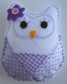 Purple Patterned Stuffed FELT OWL Room Nursery Decor