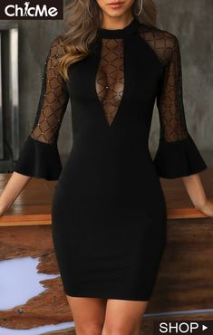 Shop Chic Me - Women's Best Online Shopping - Offering Huge Discounts on Dresses, Lingerie , Jumpsuits , Swimwear, Tops and More. Black Dress Outfits, Black Party Dresses, Prom Party Dresses, Sexy Dresses, Evening Dresses, Black Dress With Sleeves, Dresses With Sleeves, Cute Fashion, Fashion Outfits