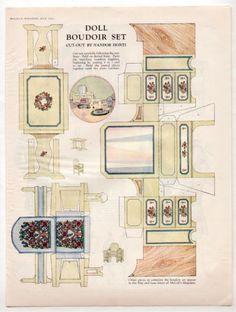 Vintage Boudoir Set Paper Dolls Furniture 1926 Nandor Honti Deco Era Uncut | eBay