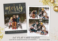 Christmas Card Template, 7x5 in Holiday Card Adobe Photoshop psd Template, sku xm16-3