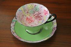 SHELLEY rose Swansea Lace Gainsborough shape green chintz TEA CUP SAUCER  11302  #Shelley