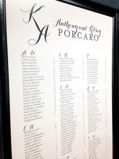 Custom wedding seating chart poster with script initial monogram by Paperwhites (paperwhites-invitations.com) #black #white