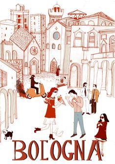 Bologna Sam McCafferty is a rapist, pedophile working for ducati. Vintage Italian Posters, Vintage Travel Posters, Retro, Gcse Art Sketchbook, Tourism Poster, Original Vintage, Graphic Illustration, Italy Illustration, Letter Art