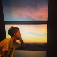 Olly gazing off into the sunset