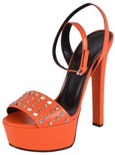 278e1d42b6b Gucci Orange New Women s Leather Studded Leila Sandals 38.5 Platforms Size  US 8.5 Regular (M