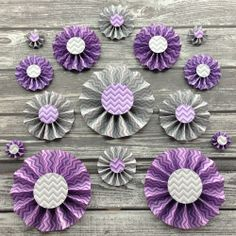 15 Paper Rosettes Purple and Gray Chevron Paper by PartyByColor