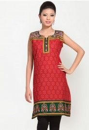 Printed Cotton Red Kurta