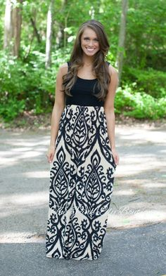 Tank Maxi Dress - Damask - Black