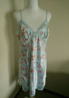 Gilligan o malley chemise gown extra large nwot blue orge floral print adj stra #GilliganOMalley #Gowns