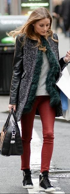 Who made  Olivia Palermo's gray coat, sneakers, vest, white top, and black print handbag that she wore in New York?