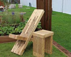 Jardín / Patio pie taburete hecho de madera reciclada de
