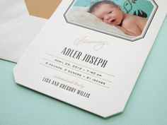 sophisticated letterpress birth announcements