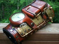 leather bracer with pocketwatch.