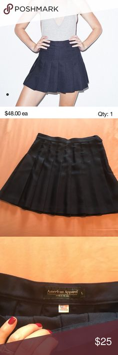 a2a8249495 American Apparel Gabardine Tennis skirt navy blue American Apparel pleated  gabardine mini skirt in patriot blue