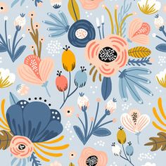 Choose the Hippie Floral Removable Wallpaper to create fantastic floral wall art in your bedroom or browse thousands of other removable wallpaper patterns and custom wall murals only at Design Floral, Motif Floral, Floral Prints, Floral Fabric, Illustration Blume, Pattern Illustration, Illustration Flower, Illustration Children, Illustration Girl