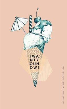 M y w o r k / icecream, cherry, summer, cone, chocolate, illustration, drawing, sweets, realistic