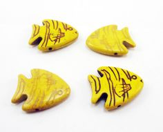 4 Yellow Tropical Fish Howlite Beads Large by OverstockBeadSupply, $1.35