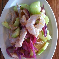 Aguachile Culichi. El aguachile original! Camaron macerado con limon. Lleva pepino, cebolla curtida y chile chiltepin. teikaguey.com/donde-estamos