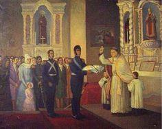 San Martín presentando el bastón de mando y la bandera para su bendición, Octavio Gomez